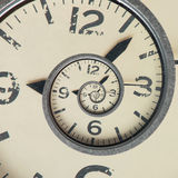 Vintage infinity clock. Time concept. Close up of Vintage infinity clock. Time concept Royalty Free Stock Image