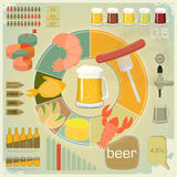 Vintage Infographics set - Beer icons, Snack. And elements for presentation and Graph - illustration Stock Photo