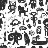 Vintage ink monsters and freaks. Seamless pattern Stock Photography