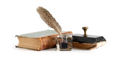 Vintage Inkstand And Book Stock Photos