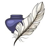 Vintage inkwell and feather Stock Images