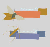 Vintage Insects Banners Stock Image