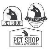 Vintage insignias and logotypes set. Pet shop retro insignias and logotypes collection Stock Images