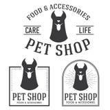 Vintage insignias and logotypes set. Pet shop retro insignias and logotypes collection Royalty Free Stock Image