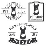Vintage insignias and logotypes set. Pet shop retro insignias and logotypes collection Royalty Free Stock Photography
