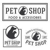 Vintage insignias and logotypes set. Pet shop retro insignias and logotypes collection Royalty Free Stock Images
