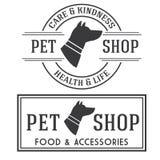 Vintage insignias and logotypes set. Pet shop retro insignias and logotypes collection Stock Photos