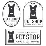 Vintage insignias and logotypes set. Pet shop retro insignias and logotypes collection Royalty Free Stock Photo