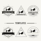 Vintage insignias and logotypes set. Retro insignias and logotypes set with elements and templates Stock Photos