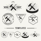 Vintage insignias and logotypes set. Retro insignias and logotypes set with elements and templates Stock Images