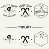 Vintage insignias and logotypes set. Retro insignias and logotypes set with elements and templates Stock Photography