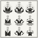 Vintage insignias and logotypes set. Retro insignias and logotypes set with elements and templates Royalty Free Stock Photos