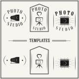 Vintage insignias and logotypes set. Retro insignias and logotypes set with elements and templates Stock Image