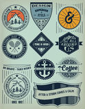 Vintage Insignias / logotypes set. Vector design elements, logos, identity, objects, labels,and badges royalty free illustration