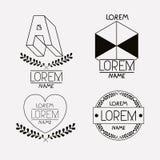 Vintage insignias sketch set in monochrome silhouette. Vector illustration stock illustration