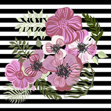 Vintage inspired summer tropical flowers and leaves. Stock Image