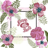 Vintage inspired summer tropical flowers and leaves. Royalty Free Stock Photo