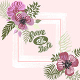 Vintage inspired summer tropical flowers and leaves. Royalty Free Stock Photos