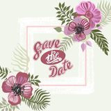 Vintage inspired summer tropical flowers and leaves. Stock Photos