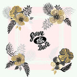 Vintage inspired summer tropical flowers and leaves. Royalty Free Stock Photography