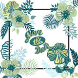 Vintage inspired summer tropical flowers and leaves. Stock Photography