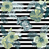 Vintage inspired summer tropical flowers and leaves. Stock Images