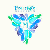 Vintage inspired watercolor freestyle monogram frame template Royalty Free Stock Photo