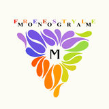 Vintage inspired watercolor freestyle monogram frame template Royalty Free Stock Photos