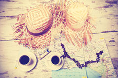 Vintage instagram stylized summer adventure concept. Royalty Free Stock Photography