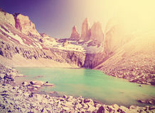 Vintage instagram toned mountains, Chile. Stock Images