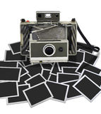 Vintage instant camera with some frame. On white background. There is a path for the frames Stock Image