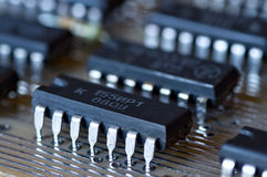 Vintage Integral Circuit on board Stock Images