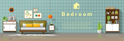 Vintage interior background with mid century modern bedroom. Vector , illustration royalty free illustration