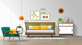 Vintage interior background with mid century modern bedroom. Vector , illustration vector illustration