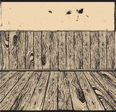 Vintage interior background. Wooden room. Drawing Royalty Free Stock Images