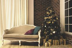 Vintage interior with christmas tree royalty free stock images