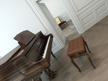 Vintage interior with a classical grand piano Stock Photography