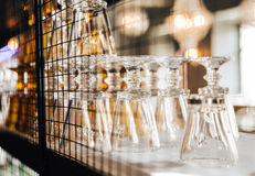 Vintage interior close up with table, chandelier and ware Royalty Free Stock Images