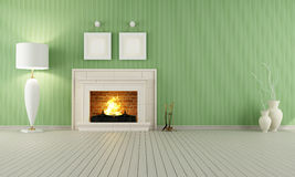 Vintage interior with fireplace. Vintage interior with green wallpaper and classic fireplace Royalty Free Stock Images