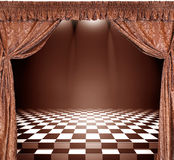 Vintage interior with golden curtains and checkerboard floor. Interior with golden curtains and checkerboard floor Royalty Free Stock Image
