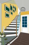 Vintage interior of the hallway with a staircase. Design of modern hallway. Symbol furniture, hallway illustration. Vintage interior of the hallway with a Stock Images