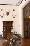 Vintage interior hunting  room. Old castle. Stock Image