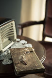 Vintage interior with old radio and book Royalty Free Stock Photography