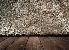 Vintage interior of old stone wall and wooden floor Royalty Free Stock Photos