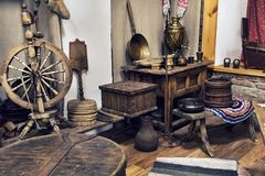 Vintage interior room in the Museum of rural life in the Ukraine. Life of ancient peasants in a village in a Russian village. anci. Life of ancient peasants in a royalty free stock photo