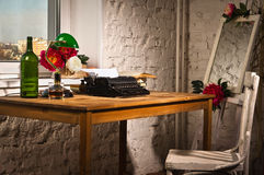 Vintage interior with typewriter Royalty Free Stock Images