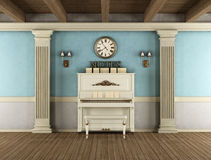 Vintage interior with upright piano Stock Photo