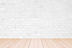 Vintage interior with white bricks wall. Room interior vintage with white bricks wall and wood floor background royalty free stock photography