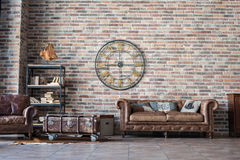 Vintage Interior With Leather Sofa Stock Image