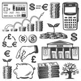 Vintage Investment Elements Set. With banknotes stacks banking payment card mobile coins money tree piggy bank isolated vector illustration Royalty Free Stock Photography
